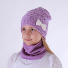 Purple-White Hat With Swarovsky Cristals, 100% Merino Wool