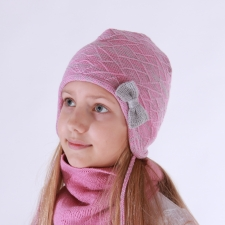 Pink - Gray Hat, 100% Merino Wool