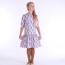 Violetne kleit sulgedega