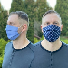 Face Mask, One Side Navy Blue / Other Side Light Blue