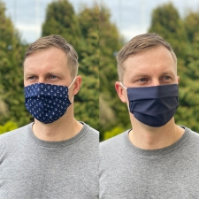Face Mask, One Side Navy Blue / Other Side With Anchors