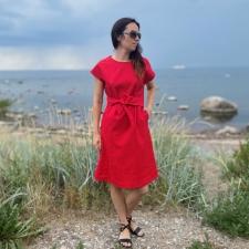 Red Dress, 100% LINEN