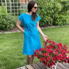Turquoise Blue Dress, 100% LINEN