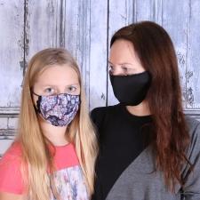 Face Mask, One Side Black / Other Side WithOrnaments (Adjustable Size!)