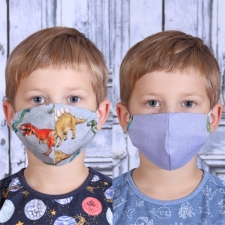 Face Mask Dinosaurs / Other Side Blue (Adjustable Size!)