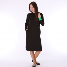 Black Dress With Green Detail