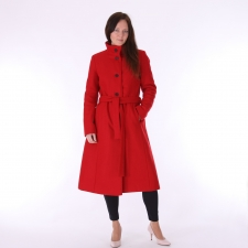 Punane villane talvemantel (eemaldatava kapuutsi ja vatiiniga)