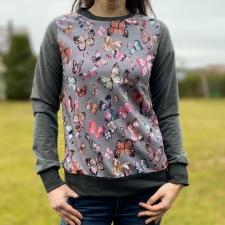 Gray Sweatshirt With Butterflies