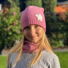 Pink Hat With Flower, 100% Merino Wool