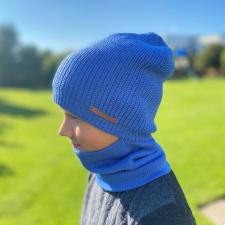 Blue Baggy Hat, 100% Merino Wool
