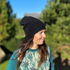 Black Baggy Hat, 100% Merino Wool