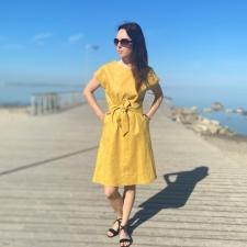 Golden Linen Dress, 100% LINEN