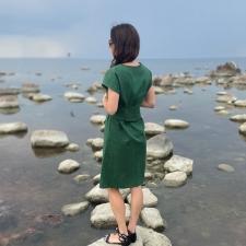 Green Linen Dress, 100% LINEN