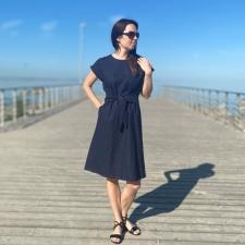 Tumesinine linane kleit