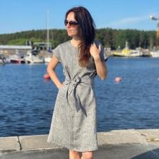 Gray Linen Dress, 100% LINEN